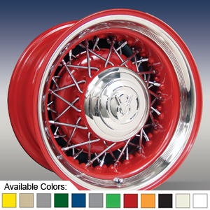 STREET ROD WIRE WHEEL - PAINTED WITH CHROME SPOKES